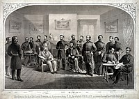 drawing of men in uniform sitting and standing in parlor