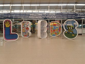 Leeds railway station - The 6-foot high 'LEEDS' letters inside the main entrance to the station