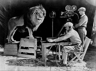 Leo the Lion (MGM) - Jackie's roar being recorded for use at the beginning of MGM talking movies. A sound stage was built around his cage to make the recording.