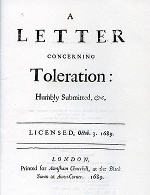 Title page of A Letter Concerning Toleration