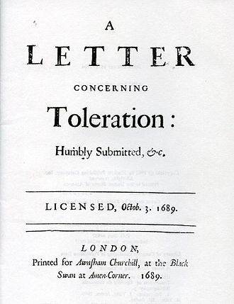 A Letter Concerning Toleration - Title page of the first edition of A Letter Concerning Toleration.