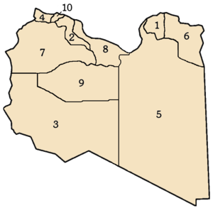Governorates of Libya - Ten governorates of Libya, numbers correspond to list at left.