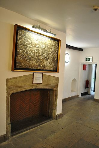 Lincoln's Inn - The two specimens of early 16th century mural paintings upon plaster were uncovered in the pictured room when the original building of 1538 was partially reconstructed in the years 1969–1970 and after preservation were replaced in the same building.