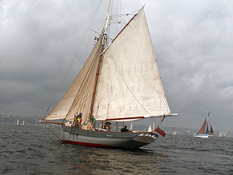 Pilot boat - Wooden pilot cutter Lizzie May under sail in Brest, France