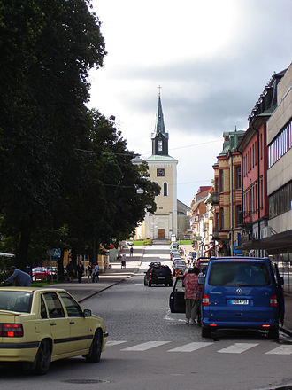 Ljungby - Storgatan with Ljungby Church in the background.