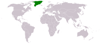 Index of Greenland-related articles - The location of the nation of Kalaallit Nunaat (Greenland)