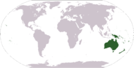 World map exhibiting a common interpretation of Oceania; other interpretations may vary.