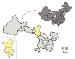 Location of Wuwei City (yellow) in Gansu