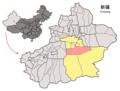 Location of Yuli within Xinjiang (China).png