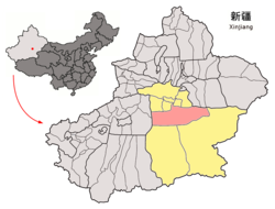 Location of Yuli within Xinjiang (China).png