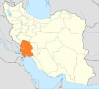 Bản đồ Iran với Khūzestān được in đậm.