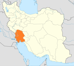 Map of Iran with Khūzestān highlighted