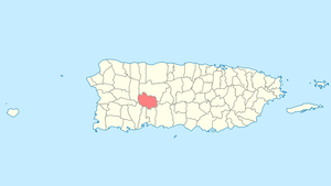 Location of Adjuntas in Puerto Rico