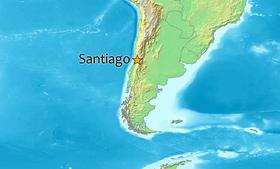 Localização de Santiago na América do Sul