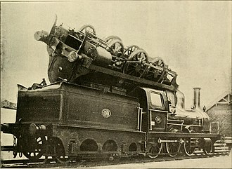 Boiler explosion - The aftermath of a boiler explosion near Oslo, Norway, 1893. One locomotive was thrown into the air and landed on the roof of another; the crews of both escaped without injury