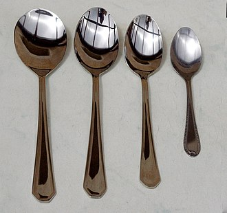 Dessert spoon - L-R: Serving spoon, tablespoon, dessert spoon, teaspoon