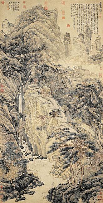 Shan shui - A painting by Ming Dynasty artist Shen Zhou, 1467