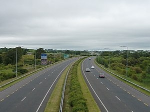 N19 road (Ireland) - Looking West along the N19 from a pedestrian bridge.