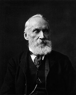 A photograph of William Thomson, 1st Baron Kelvin, the town's namesake