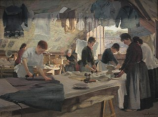 Atelier de repasseuses à Trouville