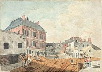 Halifax, Nova Scotia - Lower Water Street, Halifax as seen from the gate of the main Guard House, Nova Scotia, June 1823.