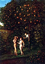 Lucas Cranach (I) - Adam and Eve-Paradise - Kunsthistorisches Museum - Detail Tree of Knowledge.jpg