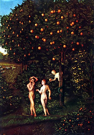 "Tree of the knowledge of good and evil - ""The Fall of Man"" by Lucas Cranach the Elder. The Tree of Knowledge is on the right."
