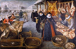 Lucas van Valckenborch - Meat and Fish Market (Winter)