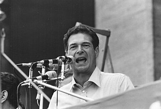 Italian General Confederation of Labour - Secretary Luciano Lama addressing the crowd during a rally in the 1970s.