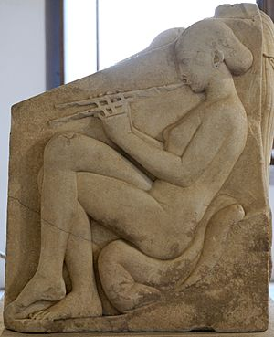 Ludovisi Throne - Left-hand panel: a naked woman playing the aulos