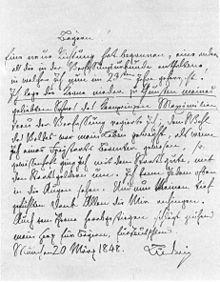 """Der Thronverzicht Ludwigs I. Eigenhändiger Entwurf der """"Königlichen Worte an die Bayern"""", 20. März 1848. München, Bayerisches Hauptstaatsarchiv, Staatsrat 1719 (Quelle: Wikimedia)"""