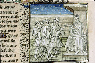 Guy of Lusignan - 15th century illuminated manuscript of De Casibus Virorum Illustrium by Giovanni Boccaccio: Richard I authorizes Guy of Lusignan to gain Cyprus