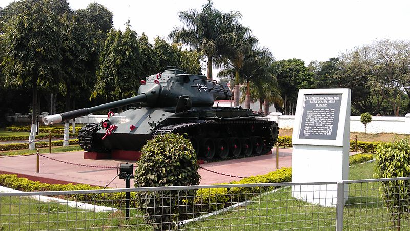 War prize exhibited at Bangalore, memorial for the battle of Asal Uttar, which was with Chawinda, some of the greatest tank battles since ww2