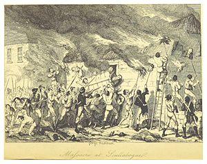 Scullabogue Barn massacre - Massacre at Scullabogue - illustrated by George Cruikshank (1845)