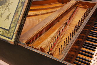 Harpsichord - Detail of the mechanism of the Harpsichord by Christian Zell, at Museu de la Música de Barcelona