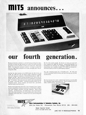 Ed Roberts (computer engineer) - June 1972 advertisement for MITS Model 1440 Calculator