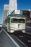 MUNI 1115, a M OCEAN VIEW BROAD TO PLYMOUH car in San Fracisco, CA in February 1980 (32943089434).jpg