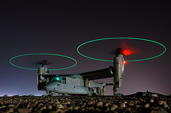 English: An MV-22 Osprey vertical-lift aircraf...