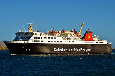 A Calmac ferry arriving in Castlebay, Barra