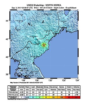 2017 North Korean nuclear test - Graphic from the United States Geological Survey showing the location of seismic activity at the time of the test