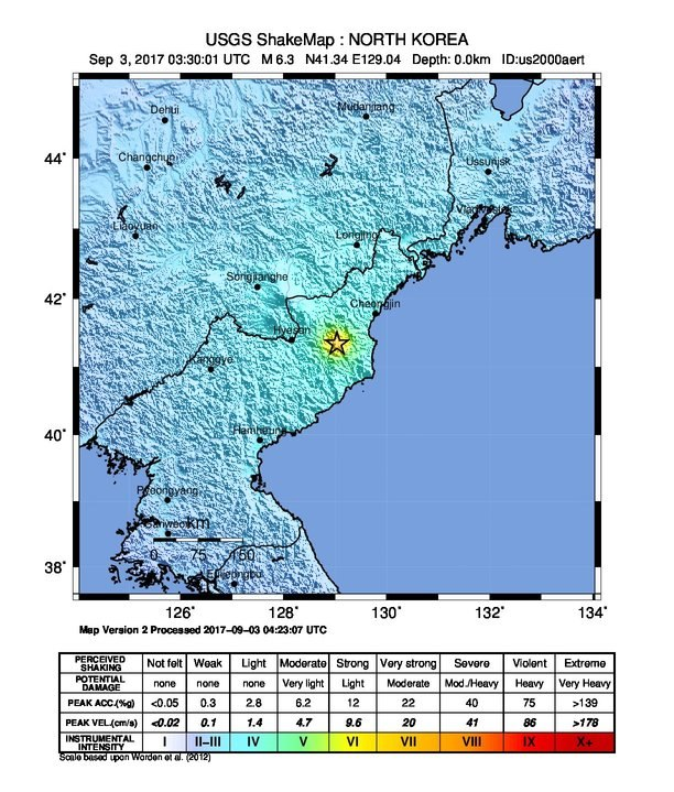 M 6.3 Explosion - 22km ENE of Sungjibaegam, North Korea