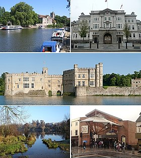 From top left: River Medway with Maidstone's historic All Saints Church, County Hall, Leeds Castle, Mote Park, The Mall Maidstone shopping centre.
