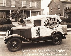 Multi-stop truck - Maiers Kew-Bee Bread Truck by Boyertown Body Works. 1929 Chevrolet chassis.