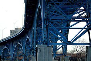 Cleveland Memorial Shoreway - The Main Avenue Viaduct carries the Shoreway over the Cuyahoga River