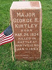 Major George R Kirtley Grave Marker in the Springfield National Cemetery