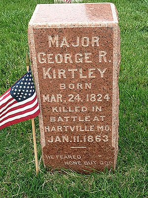 Battle of Hartville - Major George R Kirtley Grave Marker in the Springfield National Cemetery