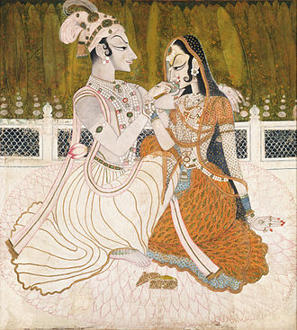Rajput painting - Krishna and Radha, might be the work of Nihal Chand, a master of the Kishangarh school trained at the imperial court in Delhi.