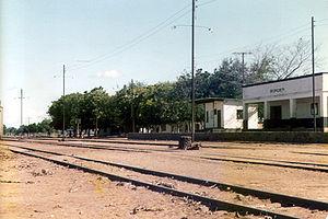 Malawi Railways - Malawian rail station near the border to Mozambique, 1984