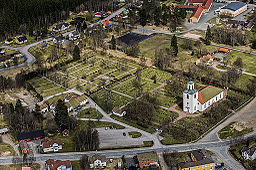 Luftfoto af Malmbäcks kirke og den nære omgivelse.
