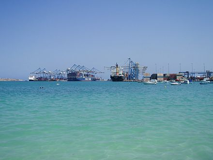 Malta Freeport, one of the largest European ports Malta Freeport from Pretty Bay at Birzebbuga.jpg